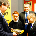 Alistair Carmichael giving paints to Rosshall