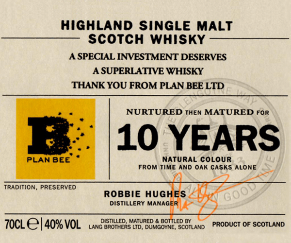 Plan Bee Label for Glengoyne Whiski