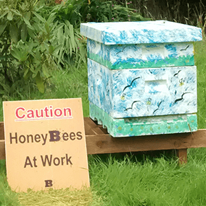 Green People - Decorated Beehive and Honeybees at work sign - Plan Bee Ltd